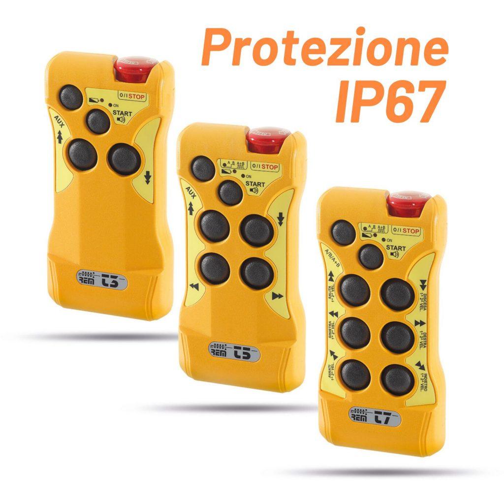 Radiocomandi Industriali di sicurezza serie T Marine (T3 T5 T7 ) con protezione IP67. Prodotti in Italia.